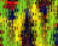 konst blockerar blå crystal genetisk grön röd yellow Arkivbild