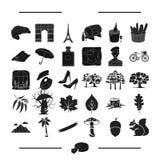 Konst, ekologi, natur och annan rengöringsduksymbol i svart stil restaurang lopp, turism, symboler i uppsättningsamling Royaltyfri Foto