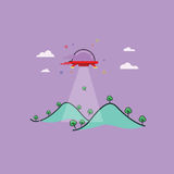Konst för berg- och ufoöversiktsvektor Fotografering för Bildbyråer