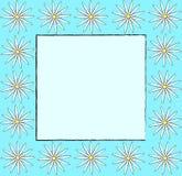 Konst för designen för blom- för tappningrammodellen för vektorn för aqua bakgrund för blått skissar retro med den drog handen at Arkivbilder