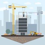 Konst för gem för konstruktionsplats med byggnader, kran, grävskopa, royaltyfri illustrationer