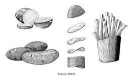 Konst för gem för tappning för potatishandattraktion som isoleras på vit bakgrund vektor illustrationer