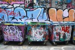 Konst för Hosiergrändgatan är en av den viktiga turistdragningen i Melbourne Arkivfoton