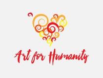 Konst för illustration för affisch för mänsklighethjärta färgrik Artsy Arkivbild