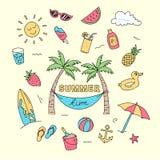Konst för klotter för sommartid med illustrationen för strandferieobjekt Mycket kulör idérik handteckningsdesign stock illustrationer