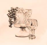 Konst för liv för tappningstilfönsterbrädan i den drog penn- och färgpulverhanden skissar i brun sepiasignalfärg Arkivfoton
