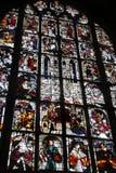 Konst för målat glassfönster av den katolska domkyrkan av Europa Arkivfoton