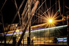 Konst för natt för allhelgonaaftongata- och bokehbakgrund stads- arkivfoton