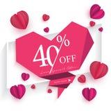 Konst för papper för baner för Sale befordringar av begreppet för förälskelse för dag för valentin` s royaltyfri illustrationer