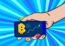 Konst för pop för bitcoin för telefon för kvinnahandhåll vektor illustrationer