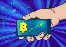 Konst för pop för bitcoin för telefon för manhandhåll vektor illustrationer