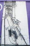 Konst för tråd för trådstålstång av den lokala konstnären som lokaliseras på snart den Hong gränden i Georgetown, Penang Arkivfoto