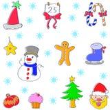 Konst för vektor för juluppsättningklotter Royaltyfri Bild