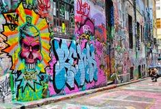 Konst för Hosiergrändgata i Melbourne Arkivfoton