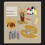 Konst levererar och bearbetar vektorpacken Måla hjälpmedelsymbolsuppsättningen Material för att måla Arkivbild