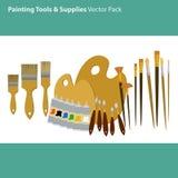 Konst levererar och bearbetar vektorpacken Målninghjälpmedeluppsättning Material för att måla Arkivbilder