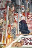 Konst på det forntida sjukhuset av Santa Maria della Scala, Siena, Italien Arkivfoto