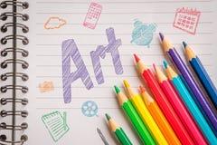 Konst på linjärt papper med färgrika blyertspennor Arkivfoto