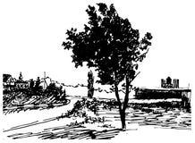 Konst skissar av lantligt landskap Vektor Illustrationer