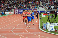 Konstantin Tolokonnikov from Russia winning 800 m. race. On DecaNation International Outdoor Games on September 13, 2015 in Paris, France. (born 26 Feb. 1996 in stock photos