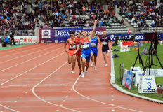 Konstantin Tolokonnikov from Russia winning 800 m. race on DecaNation International Outdoor Games on September 13, 2015 in Paris. France. (born 26 Feb. 1996 in stock image