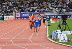 Konstantin Tolokonnikov from Russia winning 800 m. race on DecaNation International Outdoor Games. On September 13, 2015 in Paris, France. (born 26 Feb. 1996 in stock images