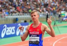 Konstantin Tolokonnikov vinnaren av 800 M race Arkivfoto