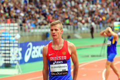 Konstantin Tolokonnikov the winner of 800 m. race on DecaNation International Outdoor Games Stock Image