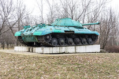 KONSTANTINOVKA, UKRAINE - MARCH 3, 2017: The monument-tank IS-3M on the pedestal in Konstantinovka stock photo