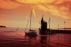 Konstanz harbor. Sunset in the harbor of Konstanz at lake Constance Royalty Free Stock Photo