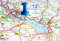 Konstanz on map. With push pin. Constance Royalty Free Stock Image