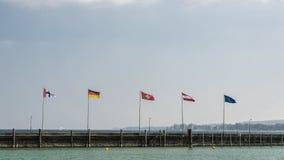 Konstanz, Niemcy: Europejczyk flaga na jeziornym brzeg obraz stock