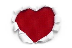 Konstbanerdesignen formar in av hjärta i pappers- vit Arkivfoto