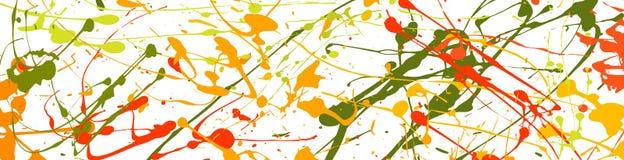 Konstbanret med målarfärg bläckar ner, färgstänk, droppar vektor illustrationer
