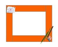 Konstbarns ram med blyertspennor och la av la av la isolerat Royaltyfri Foto