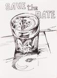 Konstbegreppet av den lyckliga timmen spritz lineart för coctailexponeringsglas skissar w stock illustrationer