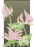 konstdekoen blommar pink stock illustrationer