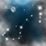 Konstellation undertecknar ljusa stjärnor i kosmos royaltyfri illustrationer