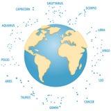 Konstellationen der Zeichen des Tierkreises, Konstellationen um die Erde Die Erde ist in 3D Lizenzfreies Stockbild