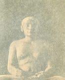Konsten av den forntida världen stena skulptur av en scribe i forntida Egypten Arkivfoto