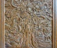 Konsten av kinesisk wood gravyr arkivfoto