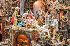 Konsten av Neapolitan Kristi födelse av S Gregorio Armeno Fotografering för Bildbyråer
