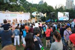 Konster i den parkeraMardi Gras händelsen i Hong Kong Fotografering för Bildbyråer