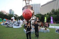 Konster i den parkeraMardi Gras händelsen i Hong Kong Arkivbild
