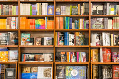 Konster och arkitekturböcker på arkivhylla Royaltyfria Bilder