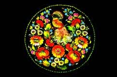 Konster, souvenir - en platta med blommor och fåglar royaltyfri illustrationer