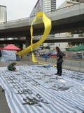 Konster upptar in område - paraplyrevolution i centralen, Hong Kong Royaltyfri Foto