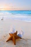 Konstflipflops och sjöstjärna på en tropisk strand Arkivfoto