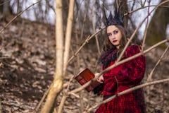 Konstfotografi Mystisk felik dam i röd klänning och svart krona med den gamla boken Posera i Forest Outdoors arkivfoton