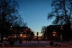 Konstfyrkant av St Petersburg i natten arkivfoton